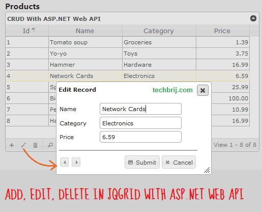 Add, Edit, Delete In jqGrid With ASP NET Web API - TechBrij