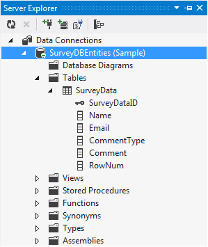 DB Structure Survey Saving SkyDrive Excel Survey Data To Sql Server Database with ASP.NET MVC