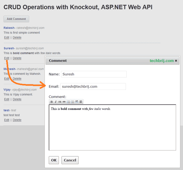 edit comment CRUD Operations using jQuery Dialog with WYSIWYG HTML Editor, Knockout and ASP.NET Web API