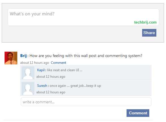 Facebook Style Wall Posts and Comments using Knockout js and