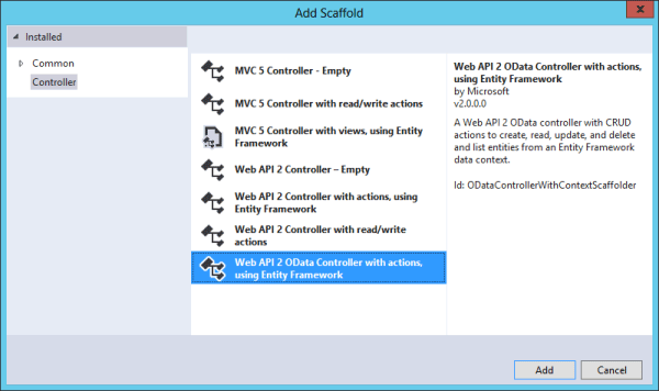 asp.net mvc add scaffold