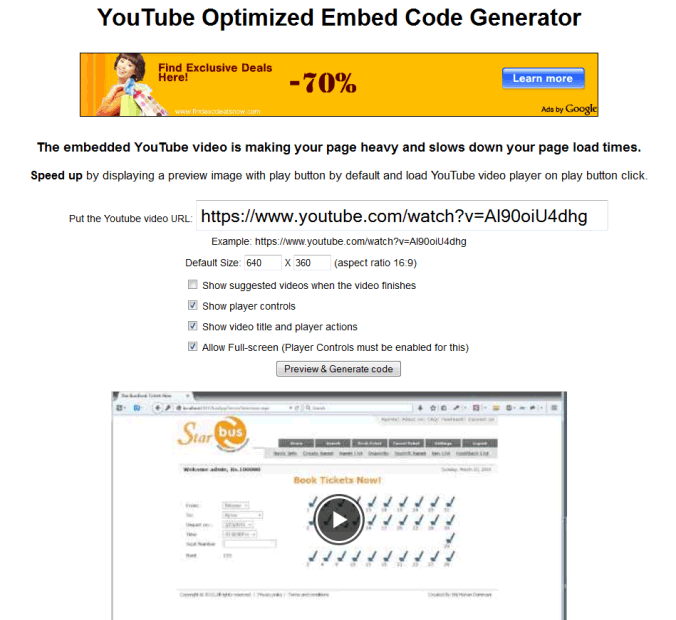 YouTube Optimized Embed Code Generator