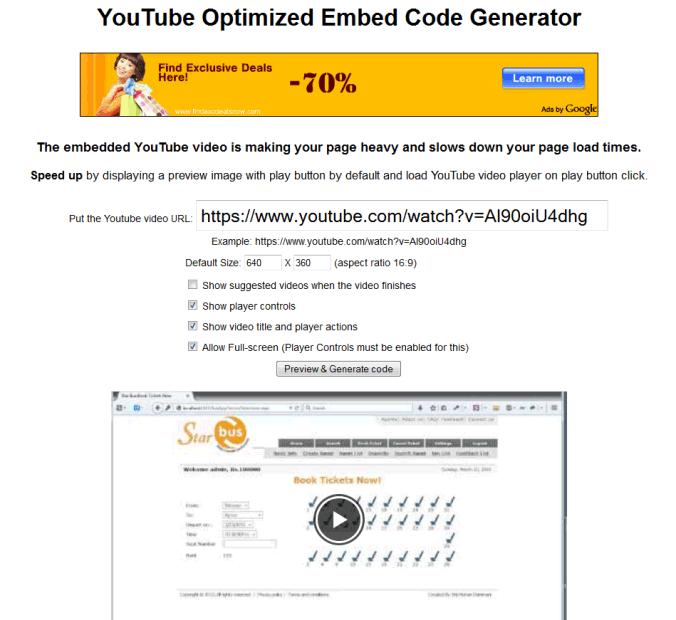 YouTube Optimized Embed Code Generator