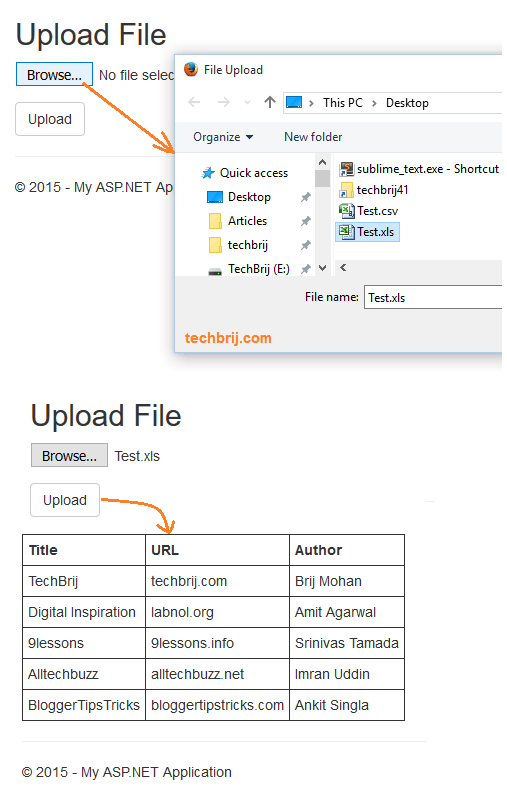 Upload and Read Excel File ( xls,  xlsx) in ASP NET MVC - TechBrij