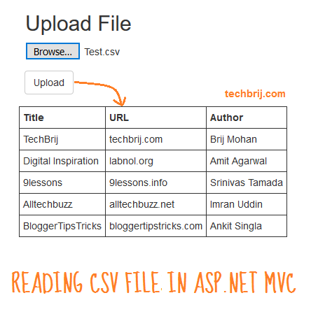 Upload and Read CSV File in ASP NET MVC - TechBrij