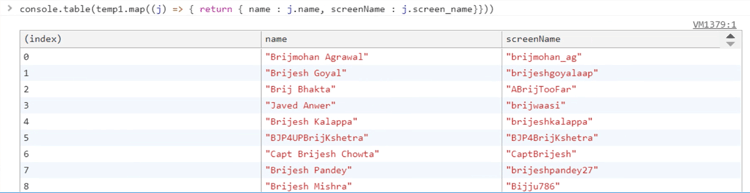 Chrome Developer Tools: Inspect JSON path and extract data
