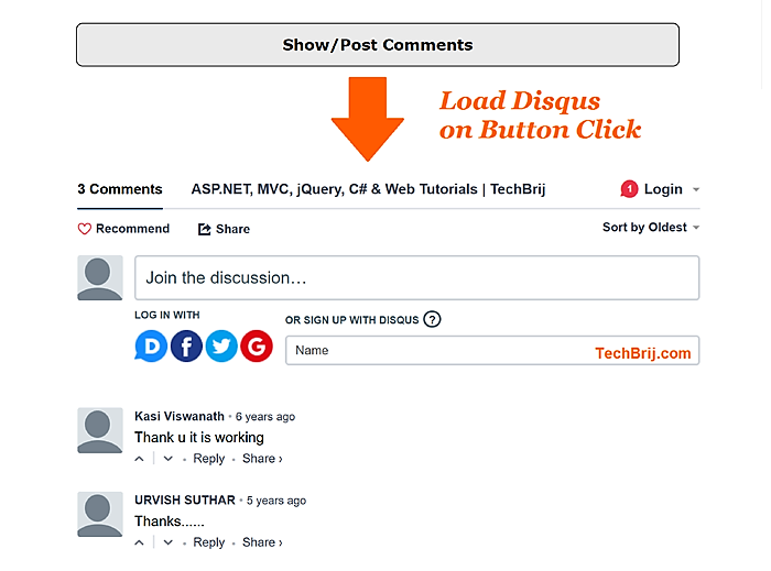 How to Load Disqus Comments on Click - TechBrij
