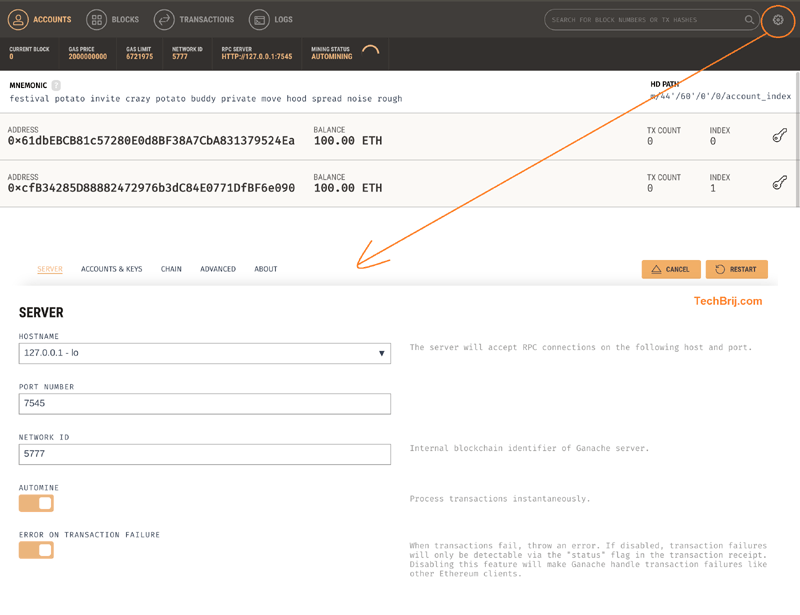 Setup Dev Environment with a Local Blockchain and Deploy