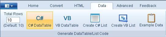 Data brijpad datatable list generator