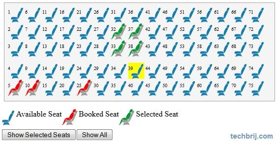 seat reservation jquery