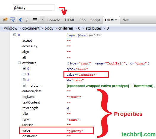 dom properties attributes jQuery .attr() vs .prop()