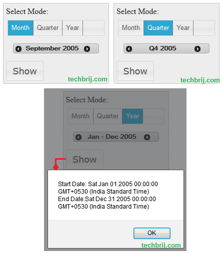 datepicker jQuery Date Range Picker To Select Year, Month Or Quarter Only
