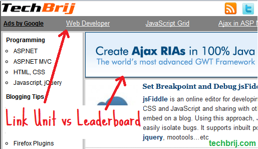 google adsense leaderboard vs link unit