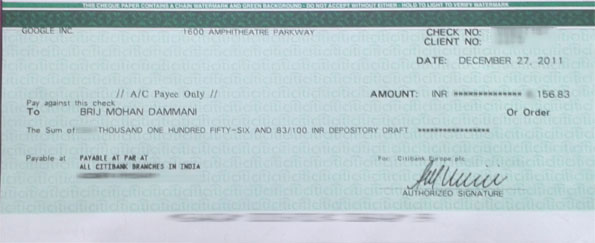 google adsense cheque techbrij