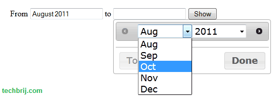 Month Range Picker using jQuery UI Datepicker - TechBrij