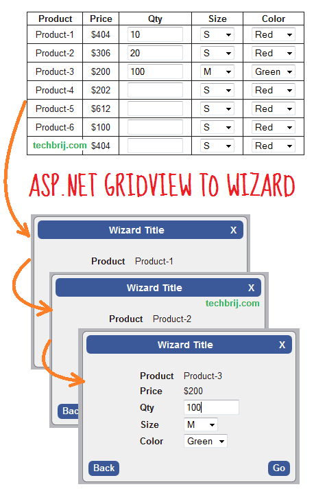 gridview to wizard