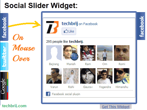 social slider widget Add Social Slider (Facebook like box, twitter and Google+ Widgets) in Your Website